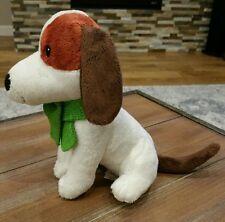 "Starbucks White Holiday Puppy Dog 2011 Brown Green Scarf 7"" Plush cute puppy"