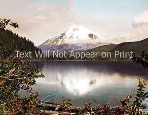 "1920-1930 Mt. St Helens & Spirit Lake, WA Old Photo 8.5"" x 11"" Reprint  Reprint"