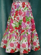 MONSOON Silk Skirt UK 10 Floral Gypsy Tiered Pink Flared Romantic Spring Bright