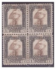 LIBIA PITTORICA 1926 - CENT. 1  Dent. 11  QUARTINA NUOVA **