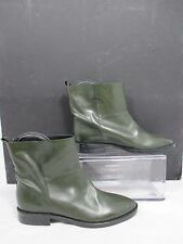 Theyskens Theory Hunter Green Short Leather Ankle Boots Sz EU 35.5 US 5.5-6