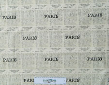 Patchwork Quilting Sewing Fabric PARIS LETTER WRITING Material 50x55cm New