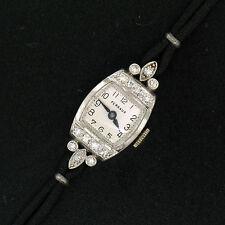 Antique Art Deco Perraux .900 Platinum 0.50ctw Single Cut Diamond Ladies' Watch