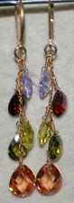 briolette gold filled genuine stones dangle earrings