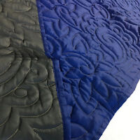 Blue & Grey Sateen Custom FINISHED COMFORTER - Reversible