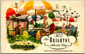 Atlantic City, NJ Postcard BRIGHTON HOTEL Patio Dining Scene / 1947 Cancel
