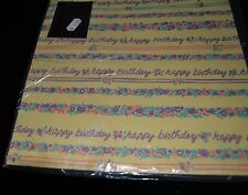 Vtg Paper Gift Wrap Drawing Board Happy Birthday Purple Easter Colors Sealed
