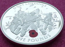 2004 GIBRALTAR 50TH ANN D DAY LANDINGS FIVE POUND £5 SILVER PROOF COIN AND COA