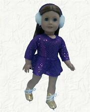 Doll Clothes Skating Dress & Earmuffs Purple Sequin fits 18 inch American Girl
