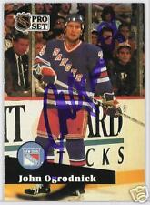 JOHN OGRODNICK 1992 PROSET NEW YORK RANGERS  AUTOGRAPHED HOCKEY CARD JSA