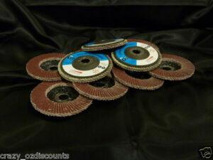 10 X 100MM 4 INCH 40 GRIT FLAP DISCS WHEELS ANGLE GRINDER GRINDING METAL SANDING