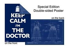 DOCTOR WHO POSTER Dalek Blueprint / Keep Calm I'm The Doctor dr (2-sided) NEW