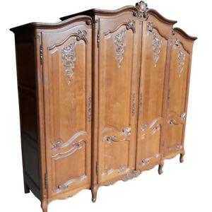 Antique French Provincial Armoire, Oak, Large, 1940's, Storage Value