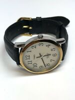 Timex Men's Quartz Watch Indiglo Gold Tone Bezel Silver Tone 35mm Case