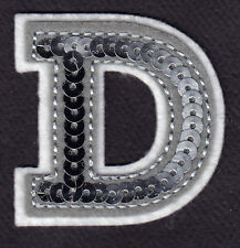 "LETTERS Iron On Embroidered Applique Silver Sequin  2/"" Letter /""E/"""