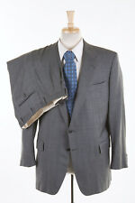 HUNTSMAN & SONS Suit 44 R Smoke Gray Sky Plaid Wool x Chester Barrie Savile Row