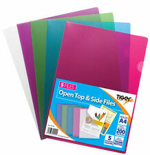 2 x Tiger A4 report files open top and side covers - pack of 5 pockets ASSORTED