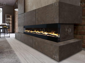 New Electric Fire 3 Sizes - White Black Grey Wall Recessed Insert or Mantel