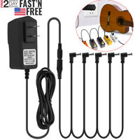 9V 1A Power Supply Multi-Plug w/ 5 Cables 9 Volt Adapter for Guitar Effect Pedal