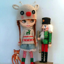 cute Blythe doll handmade clothes knit chunky sweater hat skirt outfit dress