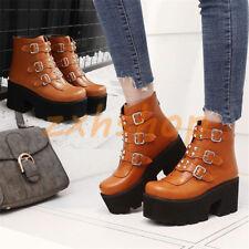Trendy Punk Damen Plateau Boots Schnalle Mit Nieten Hoherabsatz Gothic Stiefel