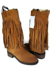 sz 6 NEW/ defect LUCKY BRAND Boots brown Oiled Suede CALEB Fringe pull-on