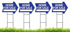 Home For Sale - BLUE - Arrow Shaped Sign Kit with Stands - 4 Pack(K-S206-4PK)