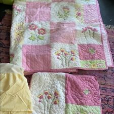 Pottery Barn Kids Quilt set FLOWERS PINK YELLOW