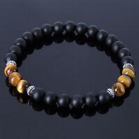Black Onyx Tiger Eye Sterling Silver Bracelet Mens Women Handmade DIY-KAREN 235