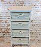 4 Drawer Wooden Frame Wicker basket Drawer Storage Unit Bed bathroom Storage