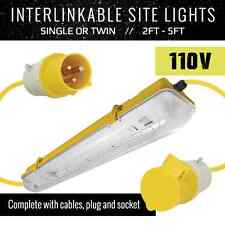 2FT TWIN LINKABLE SITE LIGHT 18W 110V FESTOON LIGHTS YELLOW TEMPORARY LIGHTING