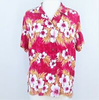 Jane Ashley Tropical Hawaiian Top Womens Large Blouse Pink Floral Hibiscus