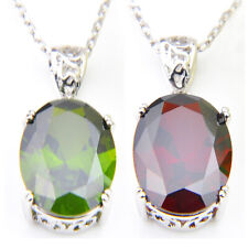 Gorgeous Oval Shaped Shiny Fire Green Quartz Delicate Silver Necklace Pendant