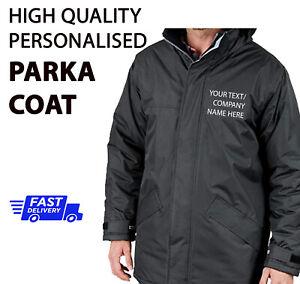 Personalised Winter PARKA Coat Work Wear Waterproof Jacket Company TEXT R207x