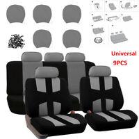 9PCS Universal Auto Car Seat Covers Cushion Full Set Front+Rear For Sedans Gray