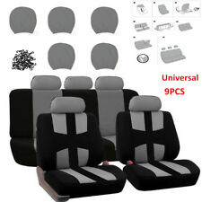 9PCS Universal Auto Car Seat Covers Cushion Full Set Front+Rear For Sedans Gray