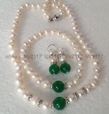 8-9mm white Akoya Pearl+12mm Green Jade Gemstones Necklace Bracelet earrings