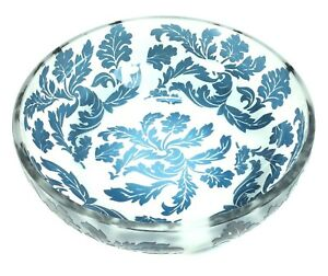 Beautiful Acid Etched Cameo Blue Glass Bowl Unknown Origin / Maker