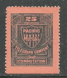 U.S. Revenue Telegraph stamp scott 13t5 - 25 cent Pacific Mutual Tele. - mh  #8