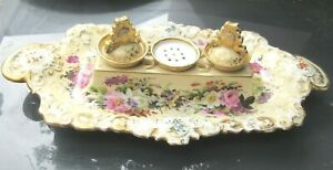 ANTIQUE JACOB PETIT INKWELL HOLDER MID 1800'S FLORAL ONE INK POT  NEEDS REPAIR