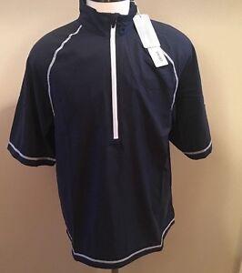 NEW Cutter Buck Pullover Golf Sz Medium Blue Zip Wind Water Resistant Activewear