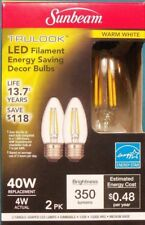 Sunbeam 4W/40Watt LED Dimmable Candle Shape Bulb, E26 Medium Base * 2 Pack
