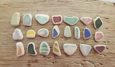 Sea Pottery, not sea glass. 22 shards. Surf-tumbled & rounded. JQ. Genuine.