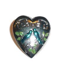 "New listing l Love U w/ Lovebirds Heart Shaped Metal Shank Button 5/8""x3/4"" Silver Toned"