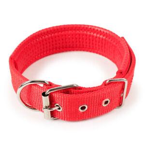 Dog Collar Padded Eyelet Nylon Metal Pet Puppy Cat Adjustable Collars Red UK