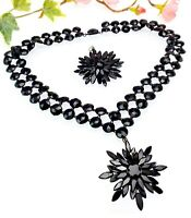 Antique Black Vauxhall Glass French Jet Statement Necklace with Extra Pendant
