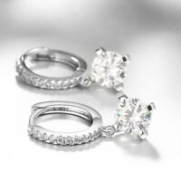 Silver Dangling Cubic Zirconia CZ Leverback Earrings