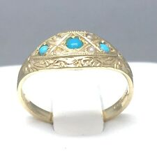 "STUNNING 9CT YELLOW GOLD *OPAL & BLUE LARIMAR* LADIES SIGNET RING SIZE ""N"" 1721"