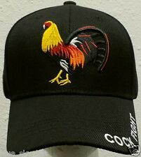 AMERICAN MEXICAN GAME FOWL ROOSTER COCK FIGHT CHICKEN FARM ANIMAL CAP HAT BLACK