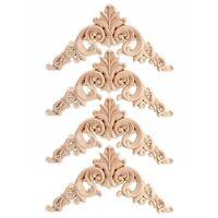 4pcs Rubber Wood Oak Carved Corner Onlay Applique Furniture Home Door Decor L6I9